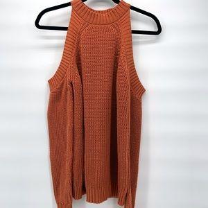 Terra-cotta Forever 21 Cold Shoulder Sweater| S